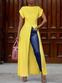 Yellow Thigh High Side Slits Round Neck Church Elegant Party Maxi Dress