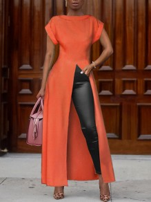 Orange Thigh High Side Slits Round Neck Church Elegant Party Maxi Dress