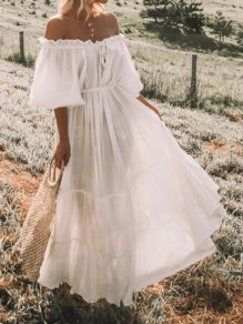 White Ruffle Pleated Drawstring Off Shoulder Elbow Sleeve Bohemian Beach Maxi Dress