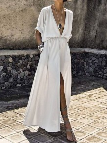 White Pockets Draped Slit Deep V-neck Elbow Sleeve Fashion Beach Maxi Dress