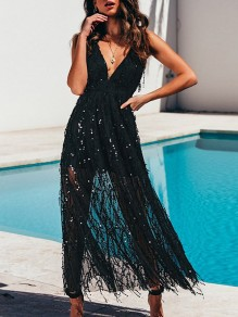 Black Tassel Sequin Cross Back Deep V-neck Blackless Elegant Maxi Dress