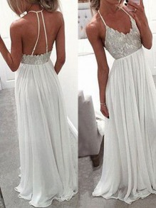 White Patchwork Lace Draped Backless Halter Neck Chiffon Elegant Wegging Gowns Prom Maxi Dress