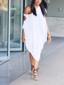 White Irregular Distressed One Off Shoulder Fashion Maxi Dress