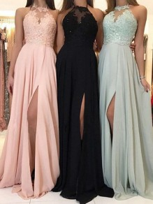 Pink Patchwork Lace Halter Neck Pleated Thigh High Side Slits Prom Evening Party Maxi Dress