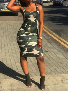 Green Camouflage Spaghetti Strap Bodycon Party Maxi Dress