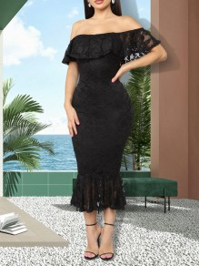 Black Patchwork Lace Ruffle Off Shoulder Bodycon Mermaid Party Maxi Dress