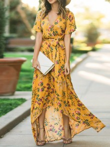 Yellow Floral Print Irregular Sashes Draped V-neck Bohemian Maxi Dress