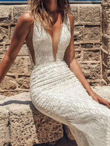 White Bright Wire Deep V-neck Backless Fishtail Backless Mermaid Elegant Bride Wedding Gowns Prom Maxi Dress