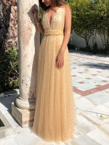 Yellow Pearl Beading Bow Grenadine Backless V-neck Party Prom Bridesmaid Maxi Dress