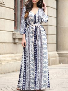 Blue Floral Print Lace-up Slit Flowy V-neck Long Sleeve Elegant Bohemian Maxi Dress