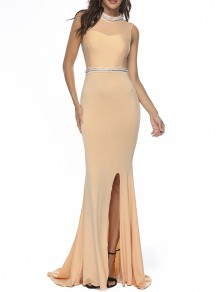 Champagne Patchwork Diamond Backless Prom Evening Party Mermaid Maxi Dress