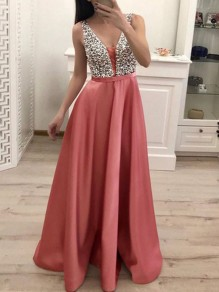 Pink Patchwork Sequin Pleated Backless V-neck Sparkly Glitter Birthday Prom Evening Party Maxi Dress