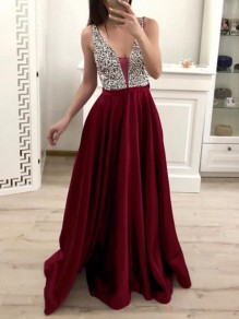 Burgundy Patchwork Sequin Pleated Backless V-neck Sparkly Glitter Birthday Prom Evening Party Maxi Dress