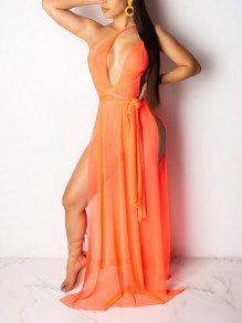 Orange Neckholder Cut Out Grenadine schiere Gürtel Beachwear Party Maxi-Kleid