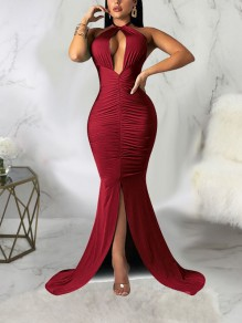 Burgundy Halter Neck Cut Out Pleated Backless Bodycon Mermaid Front Slit Prom Evening Party Maxi Dress