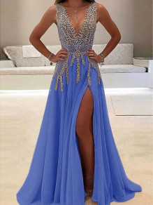 Blue Patchwork Lace Rhinestone Side Slit V-neck Sleeveless Elegant Prom Evening Party Maxi Dress