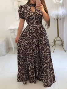 Khaki Leopard Floral Print Sashes Cut Out Big Swing High Neck Short Sleeve Bohemian Maxi Dress