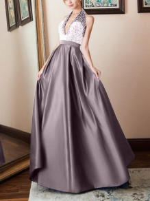Apricot Patchwork Rhinestone Sparkly Halter Neck Pleated V-neck Prom Evening Party Maxi Dress