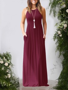 Burgundy Pockets Pleated Round Neck Collarless Fashion Casual Women Maxi Dress