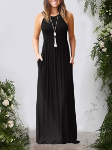 Black Pockets Pleated Round Neck Collarless Fashion Casual Women Maxi Dress