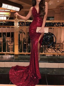 Burgundy Sequin Glitter Side Slit Backless Bodycon Elegant Mermaid Prom Maxi Dress