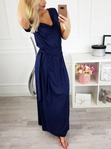 Blue Sashes Going out Comfy Fashion One Piece Maxi Dress