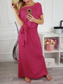 Rose Carmine Sashes Going out Comfy Fashion One Piece Maxi Dress