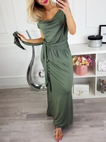 Green Sashes Going out Comfy Fashion One Piece Maxi Dress