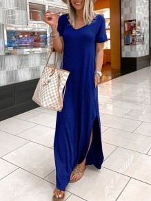Blue Patchwork Pockets Irregular Side Split V-neck Fashion Maxi Dress