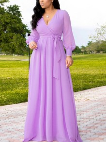 Purple Pleated Belt V-neck Long Sleeve Party Maxi Dress