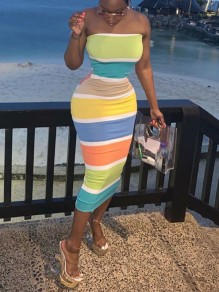 Blue Rainbow Striped Off Shoulder Bodycon Party Maxi Dress