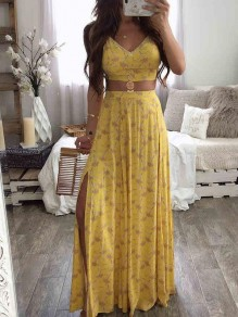 Yellow Floral Spaghetti Strap Pleated Two Piece Bohemian Beachwear Maxi Dress