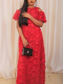 Red Fur Feather Cut Out Pleated Plus Size Prom Evening Party Maxi Dress