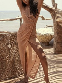 Golden Wrap Thigh High Side Slits Backless Prom Evening Party Maxi Dress
