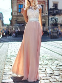 Maxi dress chiffon backless drappeggiato di pizzo manica corta elegante rosa
