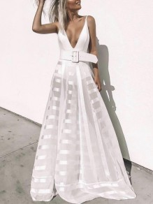 White Patchwork Grenadine Belt Spaghetti Strap Deep V-neck Fashion Casual Beach Maxi Dress
