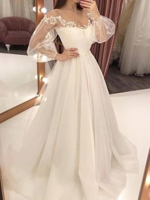White Patchwork Lace Grenadine Draped For Wedding Gowns Elegant Maxi Dress
