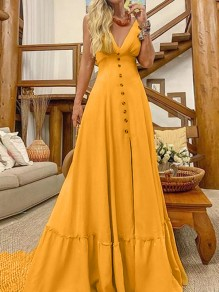 Yellow Big Swing Flowy Draped Single Breasted Ruffle Spaghetti Strap V-neck Elegant Casual Bohemian Beach Maxi Dress