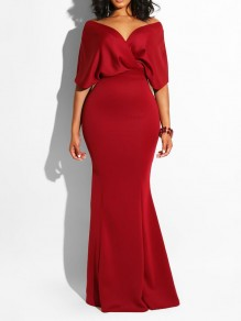 Red Off Shoulder Bodycon Mermaid Prom Evening Party Maxi Dress