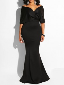 Black Off Shoulder Bodycon Mermaid Prom Evening Party Maxi Dress