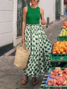Maxi dress polka dot faux vêtements de plage 2 en 1 bohème vert