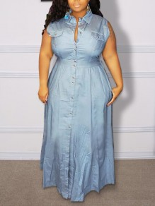 Blue Single Breasted Turndown Collar Distressed Plus Size Vintage Party Maxi Dress