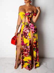 Yellow Floral Off Shoulder Cut Out Thigh High Side Slits Backless Bohemian Beachwear Maxi Dress