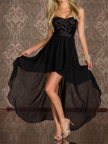 Black Patchwork Bandeau Sequin Glitter Sparkly Draped Chiffon High-low Elegant Homecoming Prom Maxi Dress
