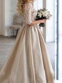 Beige Patchwork Lace V-neck Elegant Fluffy Puffy Wedding Gowns Maxi Dress