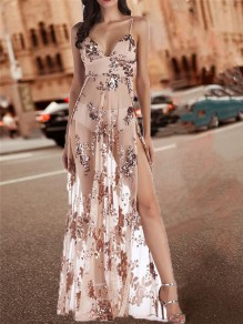 Beige Patchwork Sequin Sheer Backless Thigh High Side Slits Spaghetti Strap Glitter Maxi Dress