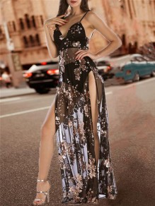 Black Patchwork Sequin Sheer Backless Thigh High Side Slits Spaghetti Strap Glitter Maxi Dress