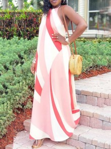 Pink Color Block Halter Neck Backless Draped Bohemian Beachwear Maxi Dress