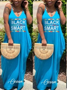 "Light Blue ""BLACK SMART"" Print Spaghetti Strap Pockets Draped V-neck Casual Maxi Dress"