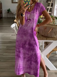 Purple Print Going out Fashion One Piece Maxi Dress